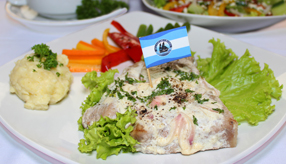Lunch menu Bluefin Steak With Cream Salad Sauce